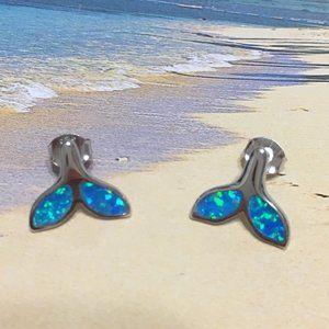 Sterling Silver Opal Whale Tail Stud Earring
